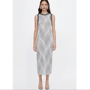 Zara Jacquard Metallic Maxi Dress Size S